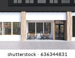 cafe exterior with white walls... | Shutterstock . vector #636344831