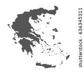 greece vector map. black icon... | Shutterstock .eps vector #636345311