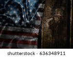 usa flag on a wood surface | Shutterstock . vector #636348911