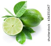 ripe lime fruit with a half of... | Shutterstock . vector #636351047