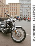Small photo of MOSCOW, RUSSIA - MAY 06, 2017: close-up motorcycle Yamaha Raider against the background of buildings, pr. Academician Sakharov. Motofestival 2017