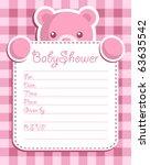 baby girl shower invitation | Shutterstock .eps vector #63635542