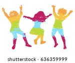 children jumping. colorful... | Shutterstock .eps vector #636359999