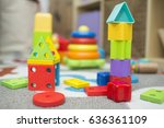kids toys shapes blocks on... | Shutterstock . vector #636361109