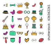 vector icon set of achievement... | Shutterstock .eps vector #636362261