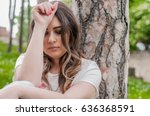 a sad and depressed woman... | Shutterstock . vector #636368591