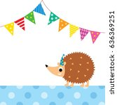 cute porcupine party vector | Shutterstock .eps vector #636369251