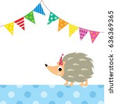 cute porcupine party vector | Shutterstock .eps vector #636369365