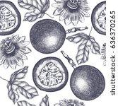 dark purple passion fruit ... | Shutterstock .eps vector #636370265