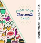 vector icon set of fathers day... | Shutterstock .eps vector #636374315