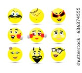 set of smile icons on a white... | Shutterstock .eps vector #636374555