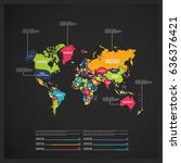 world map countries on black... | Shutterstock .eps vector #636376421