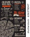 pizza food menu for restaurant... | Shutterstock .eps vector #636378047