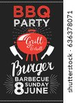 barbecue party invitation.... | Shutterstock .eps vector #636378071