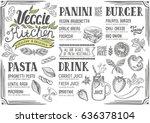 vegan food menu for restaurant... | Shutterstock .eps vector #636378104