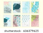 universal floral posters set.... | Shutterstock . vector #636379625