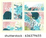 universal floral cards set.... | Shutterstock . vector #636379655