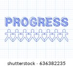progress text hand drawn with... | Shutterstock . vector #636382235