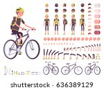 male cyclist on sport bike... | Shutterstock .eps vector #636389129