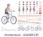 female cyclist on sport bike... | Shutterstock .eps vector #636389135
