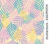 tropical leaves. seamless... | Shutterstock .eps vector #636390554