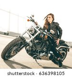girl on a motorcycle. she is... | Shutterstock . vector #636398105