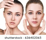 two young women with healthy... | Shutterstock . vector #636402065