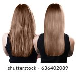 hair before and after treatment. | Shutterstock . vector #636402089