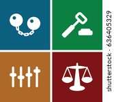 justice icons set. set of 4... | Shutterstock .eps vector #636405329