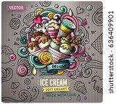 ice cream cartoon vector doodle ... | Shutterstock .eps vector #636409901