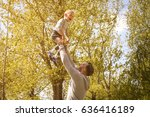 father and son playing on the... | Shutterstock . vector #636416189