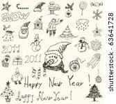 set   christmas doodles | Shutterstock .eps vector #63641728