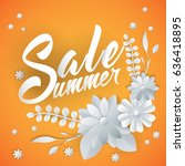 summer sale lettering with... | Shutterstock .eps vector #636418895
