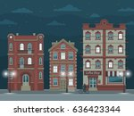 night street with vintage... | Shutterstock .eps vector #636423344