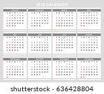 2018 calendar planner design. | Shutterstock .eps vector #636428804