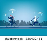 robot vs human. concept... | Shutterstock .eps vector #636432461
