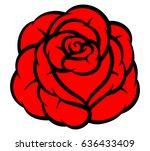red rose isolated on white... | Shutterstock .eps vector #636433409