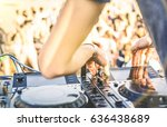 close up of dj playing electro...   Shutterstock . vector #636438689