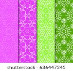 set of 4 floral geometric lace...   Shutterstock .eps vector #636447245