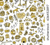 ethnic design elements sketch.... | Shutterstock .eps vector #636452897