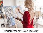 the artist in a red dress... | Shutterstock . vector #636458909