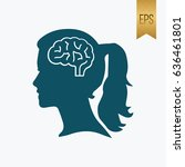 girl brain icon. flat isolated...   Shutterstock .eps vector #636461801