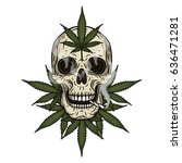 rastaman skull with cannabis... | Shutterstock .eps vector #636471281