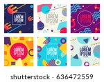 memphis style cards design... | Shutterstock .eps vector #636472559
