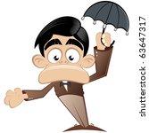 funny cartoon man with umbrella | Shutterstock .eps vector #63647317