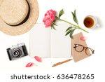 minimal styled flat lay... | Shutterstock . vector #636478265