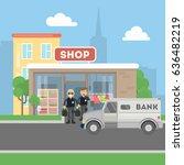 cash transit guards with van.... | Shutterstock . vector #636482219