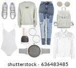 a set of fashionable clothes... | Shutterstock . vector #636483485