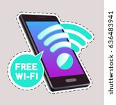 wi fi icon with phone for... | Shutterstock .eps vector #636483941