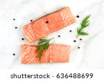 an overhead photo of two slices ... | Shutterstock . vector #636488699
